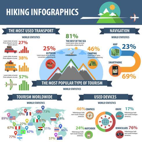 Hiking Infographics Set vector