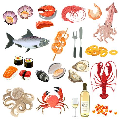 Fruits de mer Icons Set vecteur