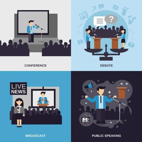 offentligt talande plattuppsättning vektor
