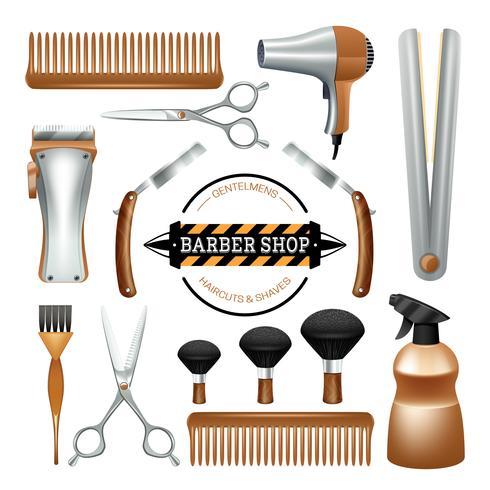Ensemble d'outils de barbier vecteur