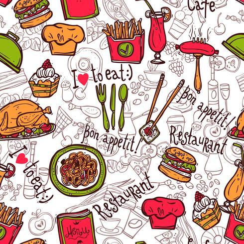 Restaurant symbolen naadloze patroon doodle schets