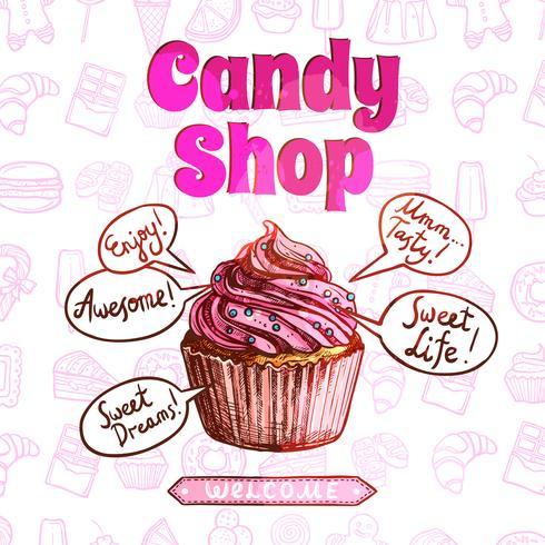 Cartaz da loja de doces