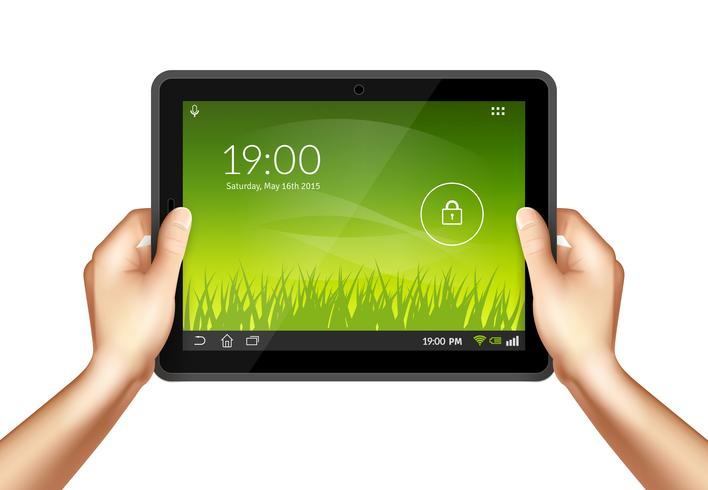 Mão com tablet