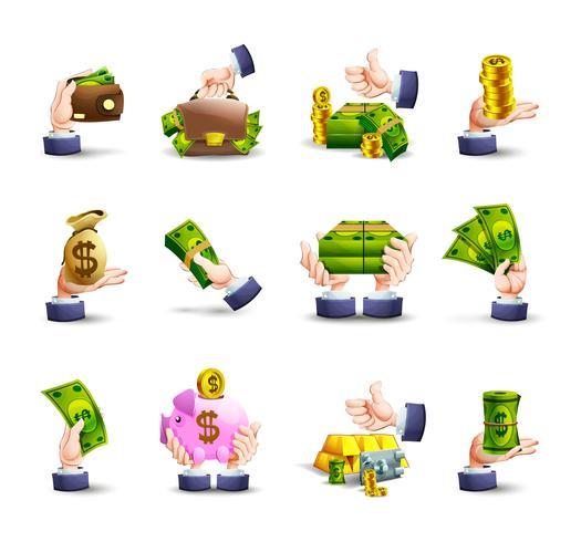 Conjunto de ícones de pagamento em dinheiro de mãos vetor