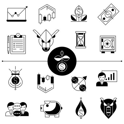 Investments And Stock Line Icons Set