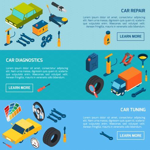 Car Repair Tuning Isometric Banners Set vector