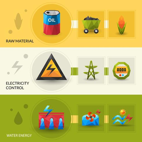 Energy Resources And Control Banner Set vector