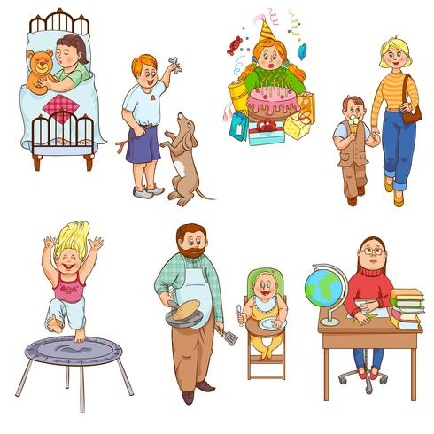 Parents with children cartoon icons collection vector