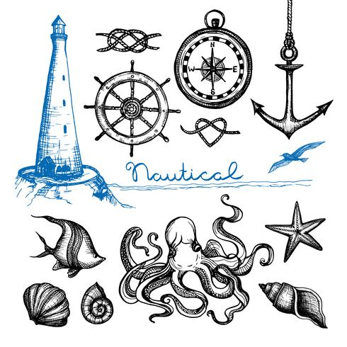 Nautical Hand Drawn Set