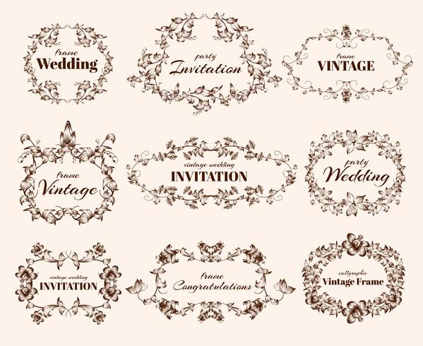 Vintage calligraphic frames vector