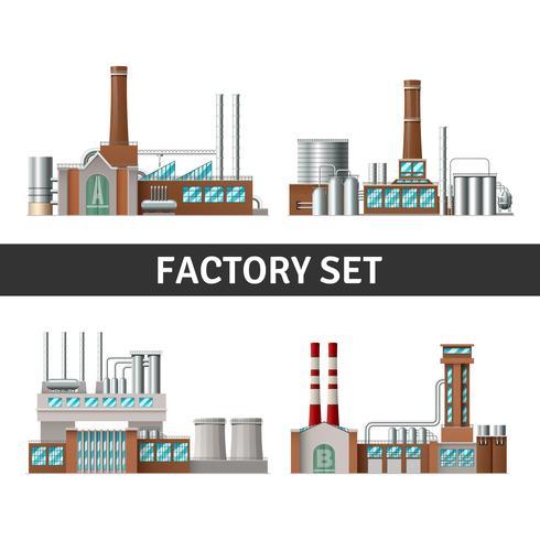 Realistic Factory Set vector