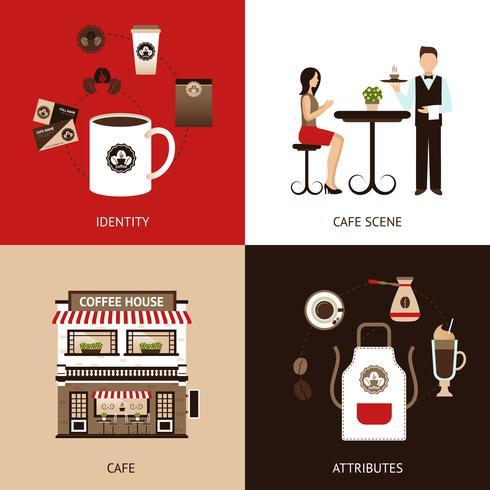 Coffee House Flat Set vector