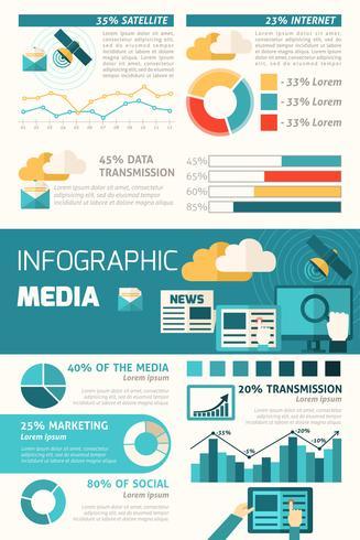 media infographic set vektor