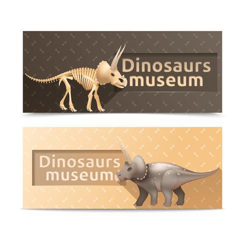 Banners de museo de dinosaurios horizontales vector