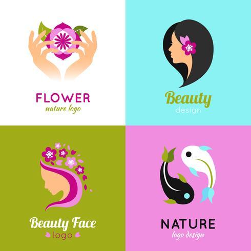 Beauty concept design 4 flat square vector