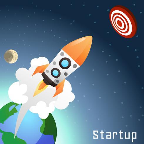 Concepto de cohete de inicio