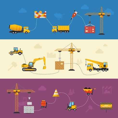 Proceso de construcción Banners vector