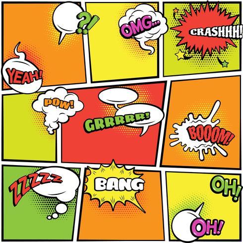 Comics burbujas colección colores brillantes. vector