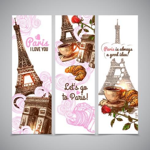 Paris Vertical Banners vector