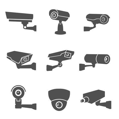 Iconos de la cámara de vigilancia vector