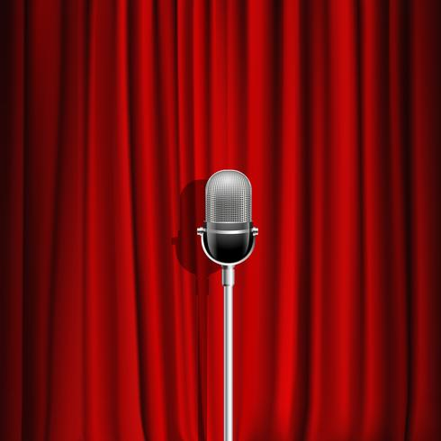 Microphone And Red Curtain Background  vector