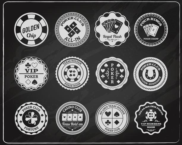Conjunto de etiquetas de pizarra de póquer