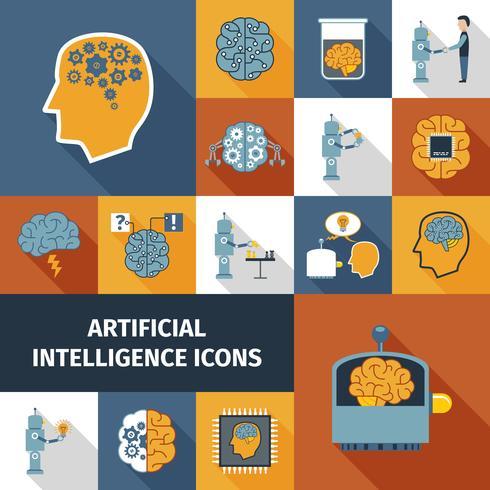 Conjunto de iconos de inteligencia artificial