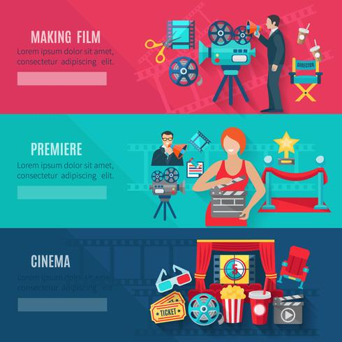 Filmmaking Banners Set vector