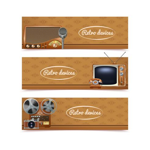 Retro Devices Banners vector