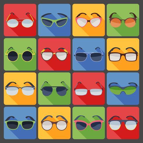 Solglasögon glasögon mode platt ikoner uppsättning