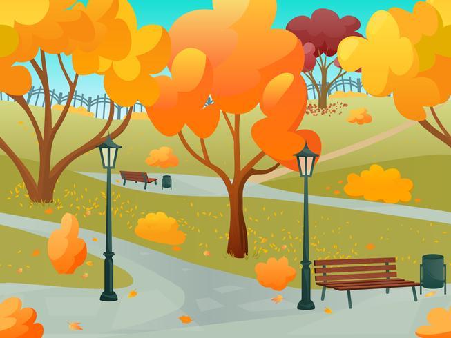 Paisaje del parque otoño