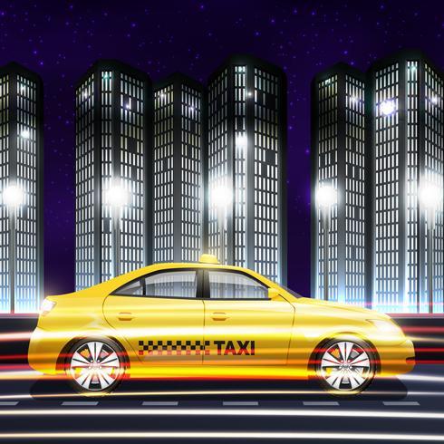 Taxi en el fondo de la ciudad