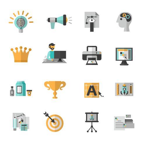 Branding Icon Flat Set vector