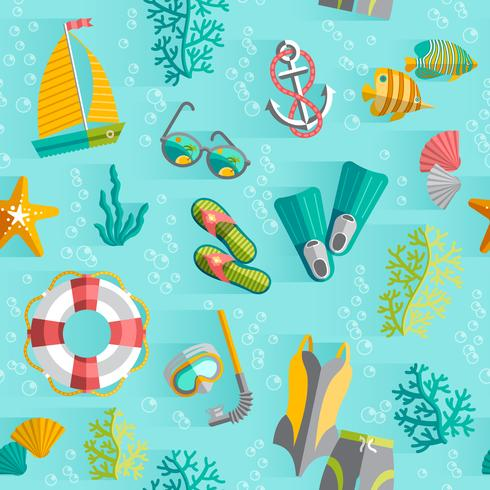 Summer tropical vacation seamless pattern vector