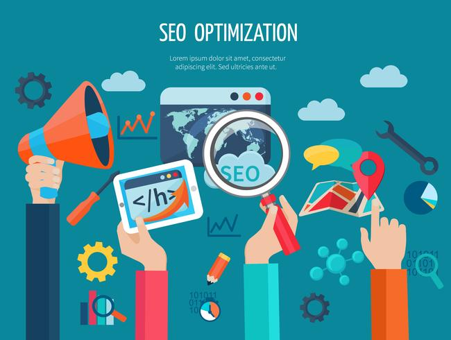 Seo Optimization Concept With Hands vector