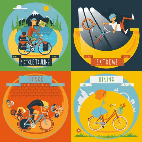 Cycling 4 flat icons banner  vector