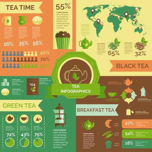 Tea consumption world wide infographic layout vector