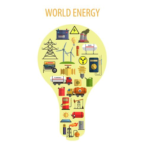 Conceito de lâmpada de energia mundial