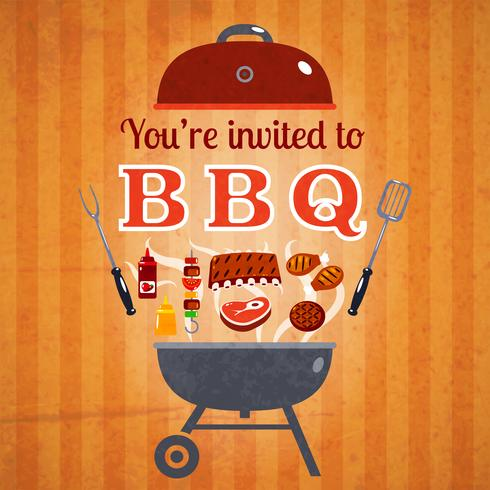 Barbecue inbjudan händelse reklamaffisch