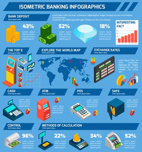 Isometric Banking Infographics vector