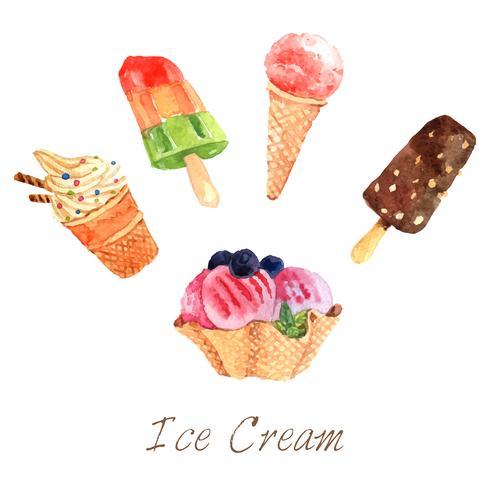Ice Cream Watercolor Set vector