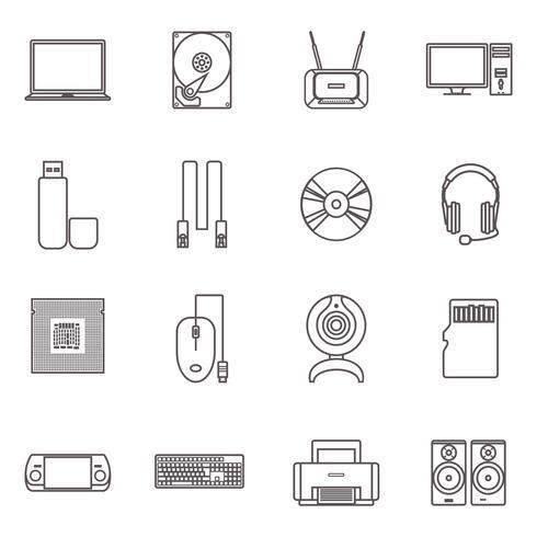 Hardware de computador e conjunto de ícones de acessórios vetor