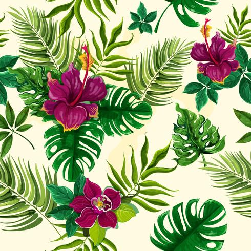 Tropical plants flowers seamless pattern vector