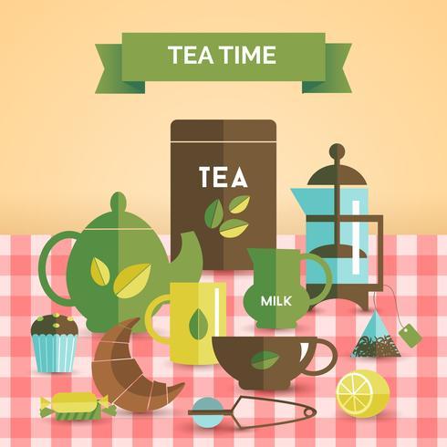 Tea time vintage decorative poster print vector
