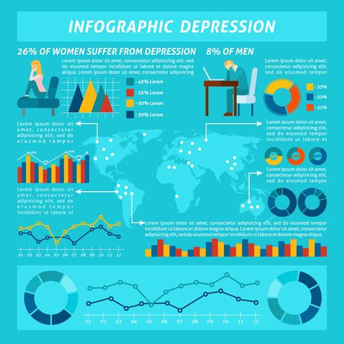 Stress och depression Infographics Set vektor