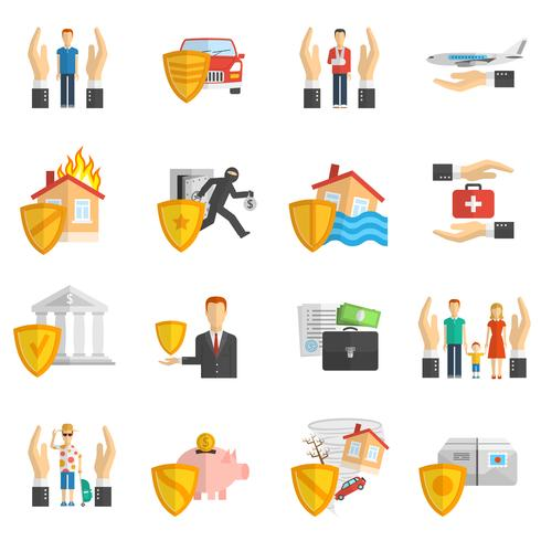 Verzekering veelkleurige platte pictogramserie