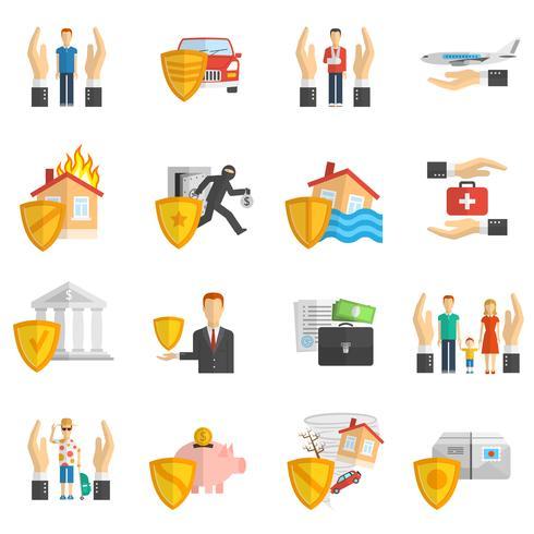 Insurance multicolored flat icon set vector