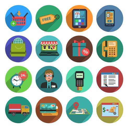 Conjunto de ícones plana de compras on-line