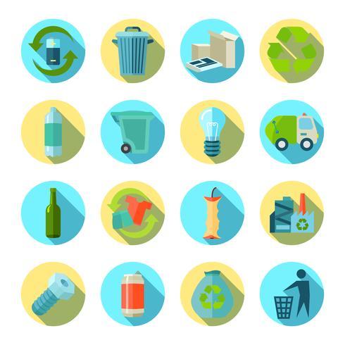 Waste Sorting Round Icons Set