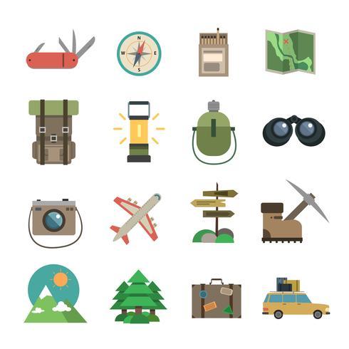 Senderismo iconos conjunto plana